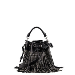 Saint Laurent Black Emmanuel Small Studded Fringe Bucket Bag - 1