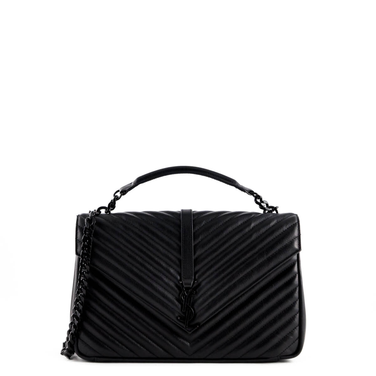 744cfc6435 Saint Laurent Black Quilted Calfskin Large Monogram College Bag - LOVE that  BAG - Preowned Authentic ...
