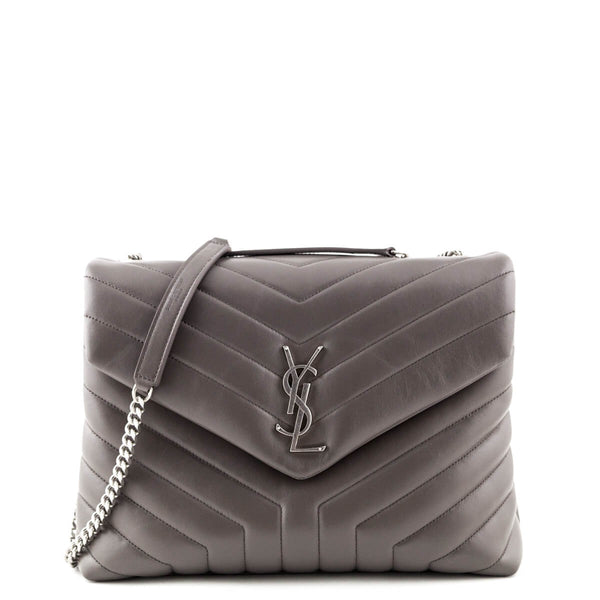 3fb2e5e7dc41 Saint Laurent Earth Calfskin Matelasse Y Loulou Medium Chain Bag