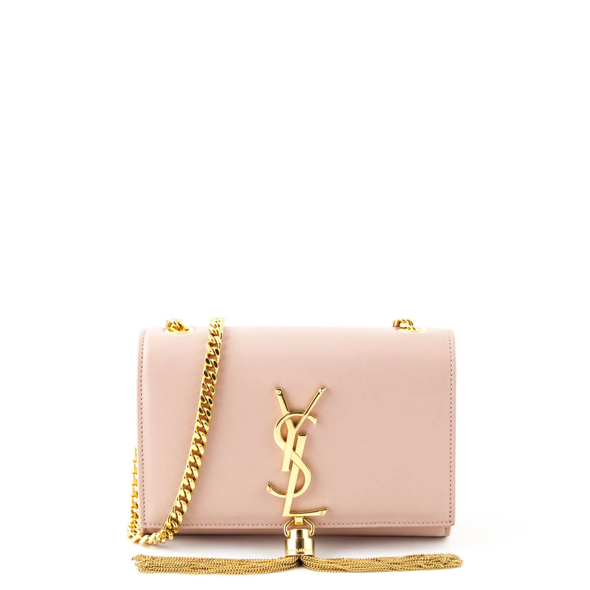 b912762f0248 Saint Laurent Pink Smooth Calfskin Small Tassel Kate bag - LOVE that BAG - Preowned  Authentic ...