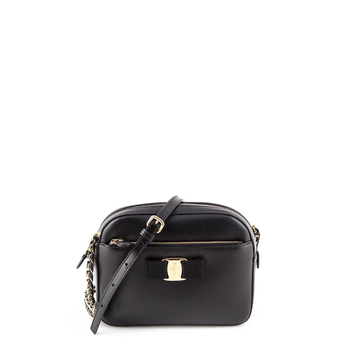 Salvatore Ferragamo Black Calfskin Lydia Camera Bag - LOVE that BAG -  Preowned Authentic Designer Handbags ... 9afb3976b94e6