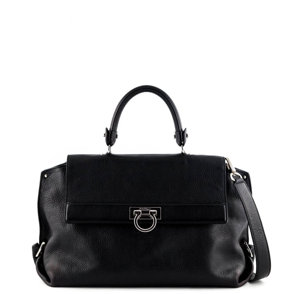 a64b8a0e47 Salvatore Ferragamo Black Pebbled Leather Sofia Satchel - LOVE that BAG -  Preowned Authentic Designer Handbags ...