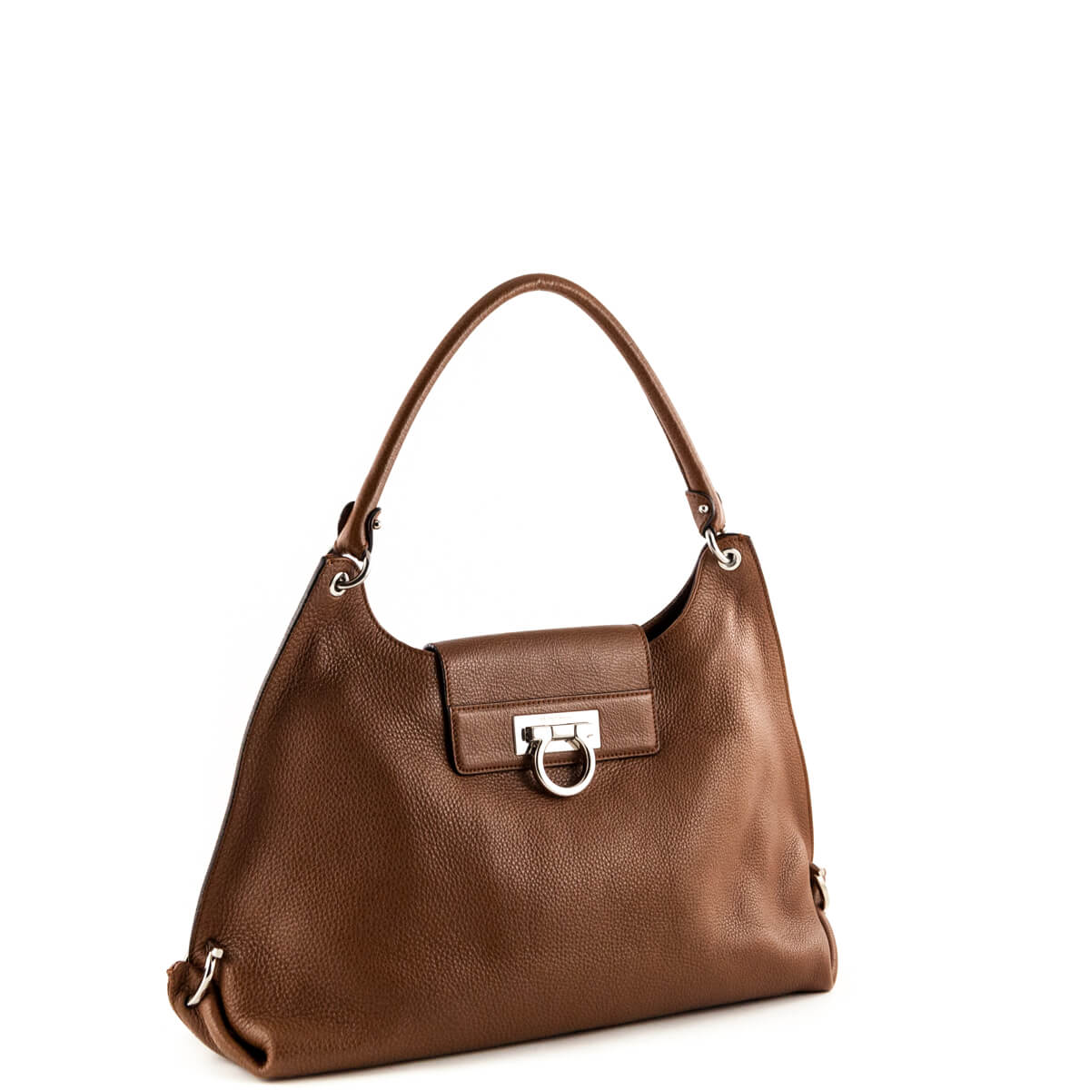 ... Salvatore Ferragamo Brown Pebbled Leather Shoulder Bag - LOVE that BAG  - Preowned Authentic Designer Handbags ... aad2b31f50436