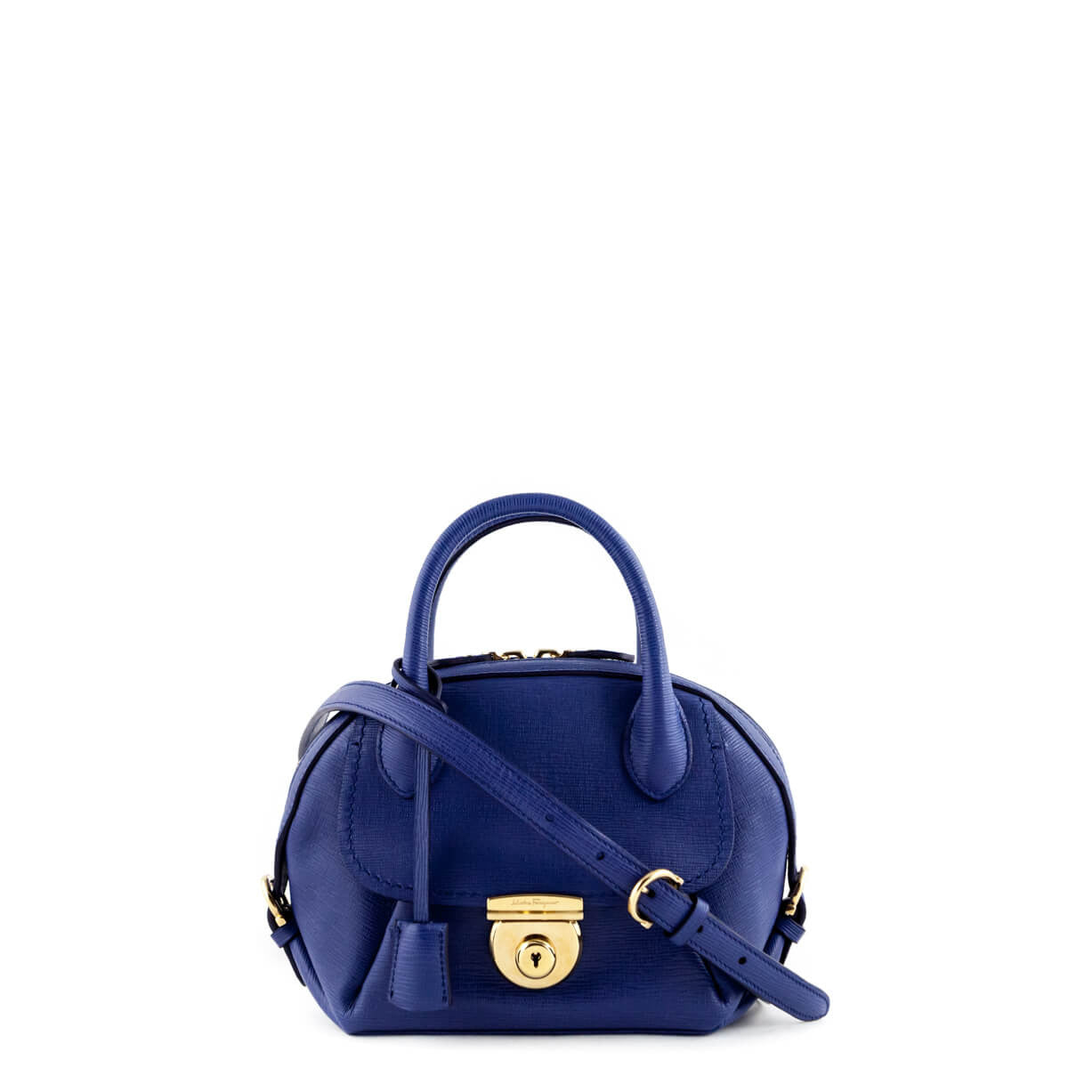 846a84a7e820 Salvatore Ferragamo Cobalt Mini Fiamma Crossbody - LOVE that BAG - Preowned  Authentic Designer Handbags ...