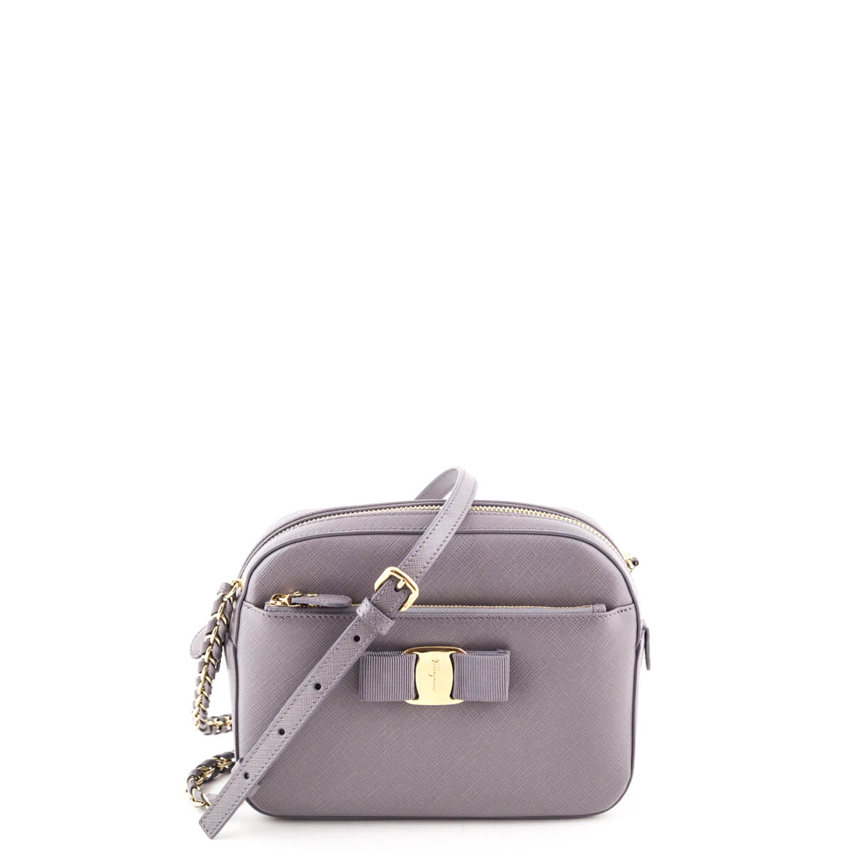 310a21f3f0 Salvatore Ferragamo Purple Gray Calfskin Lydia Camera Bag - LOVE that BAG -  Preowned Authentic Designer ...