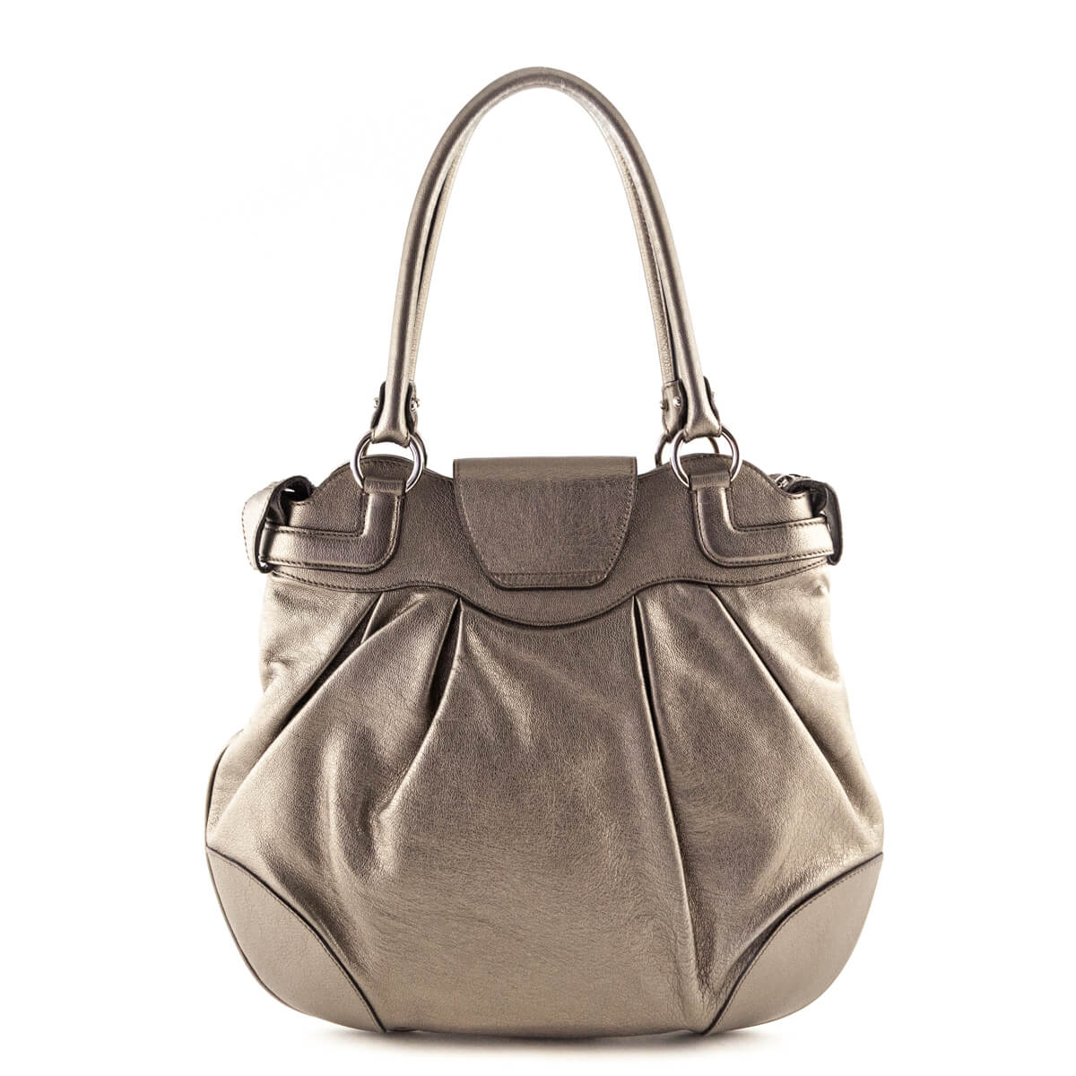 ... Salvatore Ferragamo Pewter Marisa Shoulder Bag - LOVE that BAG -  Preowned Authentic Designer Handbags ... ab3e091b4e