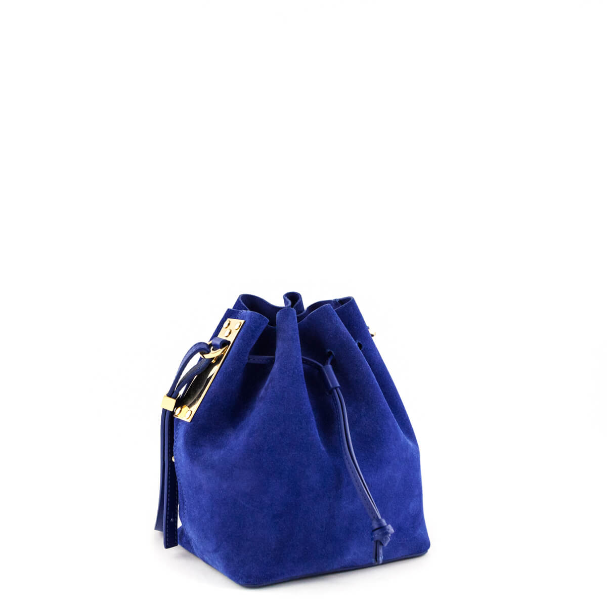 d42b373190 ... Sophie Hulme Klein Blue Suede Nelson Bucket Bag - LOVE that BAG -  Preowned Authentic Designer ...