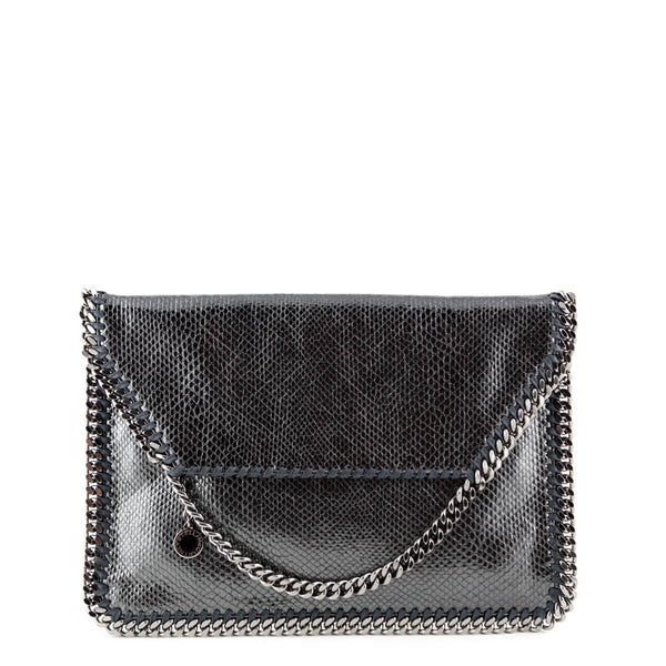 204e7d57a4e8 Stella McCartney Metallic Embossed Falabella Fold Over Clutch - LOVE that  BAG - Preowned Authentic Designer