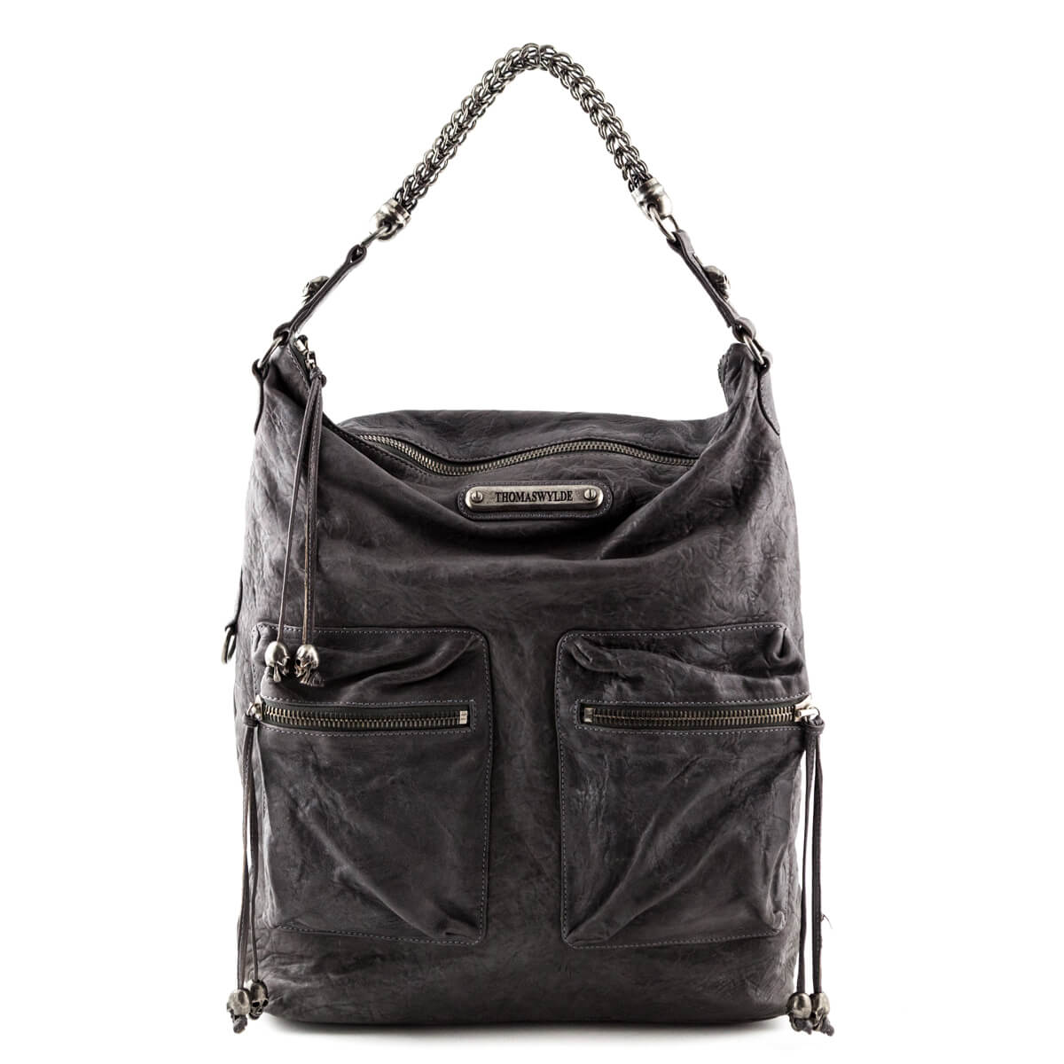 064834bb59a7 Thomas Wylde Dark Gray Wrinkled Leather Skull-Embellished Tote - LOVE that  BAG - Preowned ...