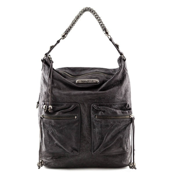 e877d248730b Thomas Wylde Dark Gray Wrinkled Leather Skull-Embellished Tote - LOVE that  BAG - Preowned