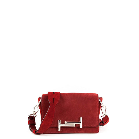 Tod's Red Suede Mini Double T Crossbody Bag