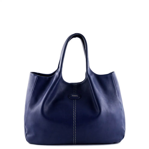 Tod's Royal Blue Leather 24H Shopping Media Tote