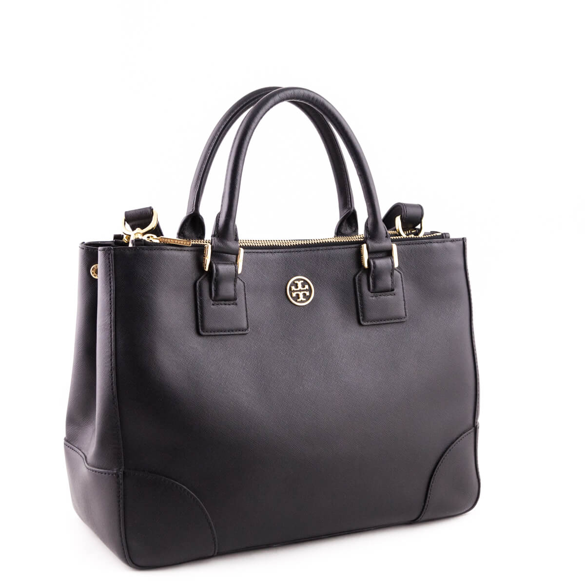 aced9baa302 ... Tory Burch Black Textured Leather Robinson Double Zip Tote - LOVE that  BAG - Preowned Authentic ...