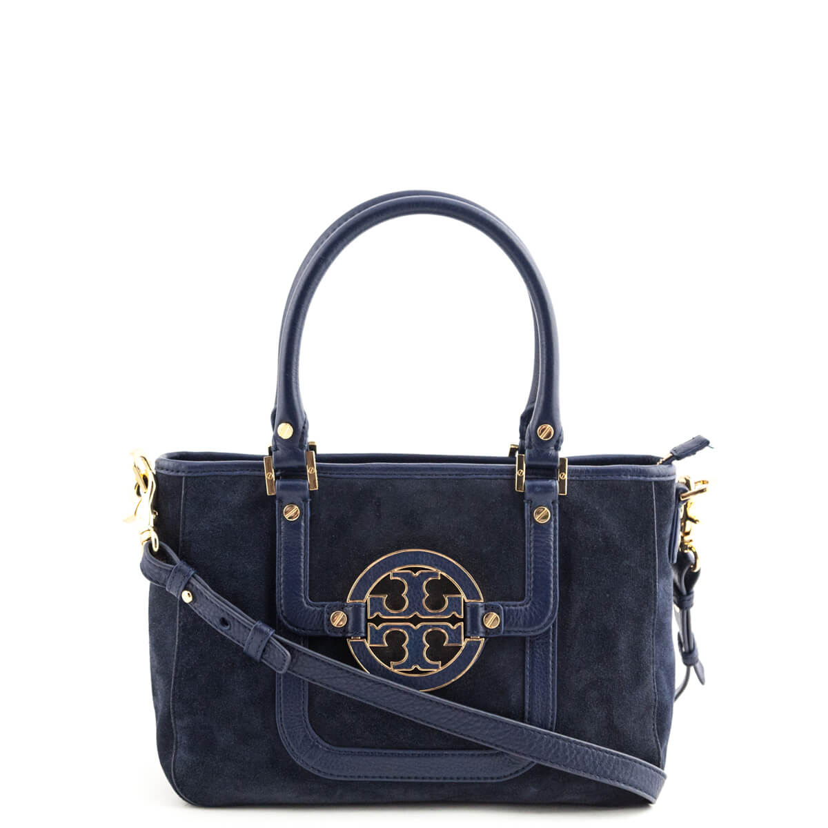 6ddff8a6ccd Tory Burch Navy Suede Amanda Mini Tote - LOVE that BAG - Preowned Authentic  Designer Handbags ...
