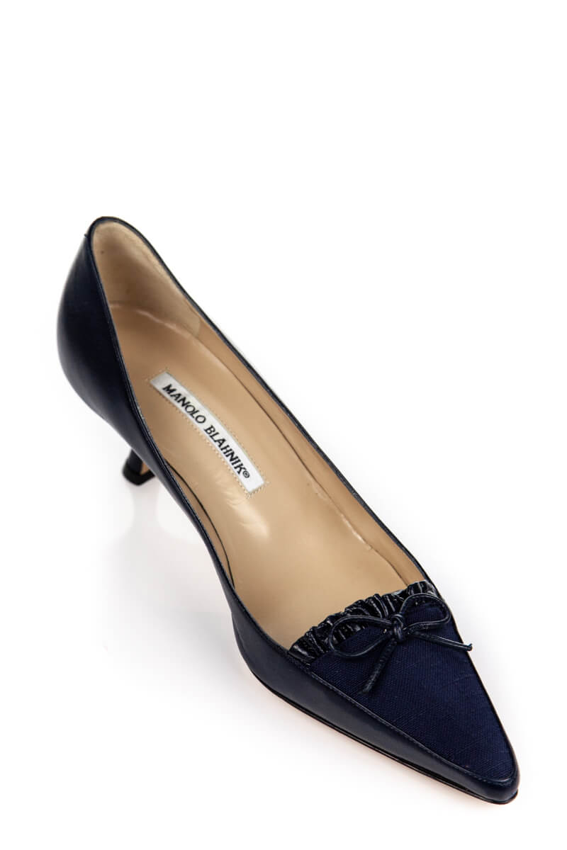 presenting new images of latest discount Manolo Blahnik Navy Leather & Canvas Kitten Heel Pumps