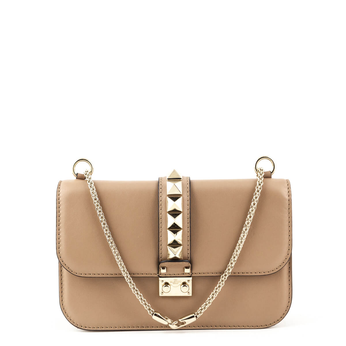 bf0e6b32afe1b3 Valentino Beige Calfskin Medium Glamlock Chain Bag - LOVE that BAG -  Preowned Authentic Designer Handbags ...