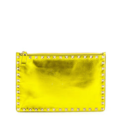 Valentino Metallic Yellow Gold Small Rockstud Zip Clutch - 1