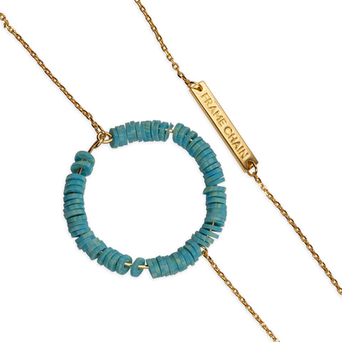CANDY POP TURQUOISE  in YELLOW GOLD - FRAME CHAIN