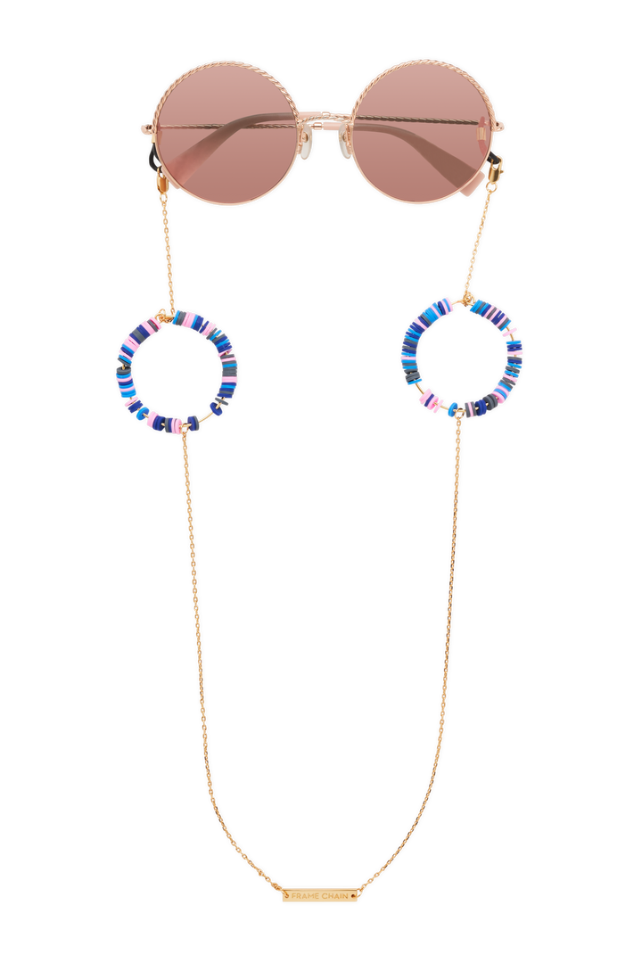 FRAME CHAIN | CANDY POP BLUE in YELLOW GOLD | Glasses Chains | Eyewear Chains