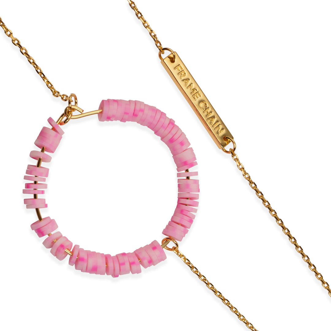 CANDY POP BABY PINK in YELLOW GOLD - FRAME CHAIN