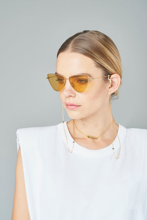 FRAME CHAIN | LOVE N PEACE in YELLOW GOLD | Glasses Chains | Eyewear Chains