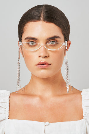 FRAME CHAIN | DISCO WHITE CRYSTAL in WHITE GOLD | Glasses Chains | Eyewear Chains