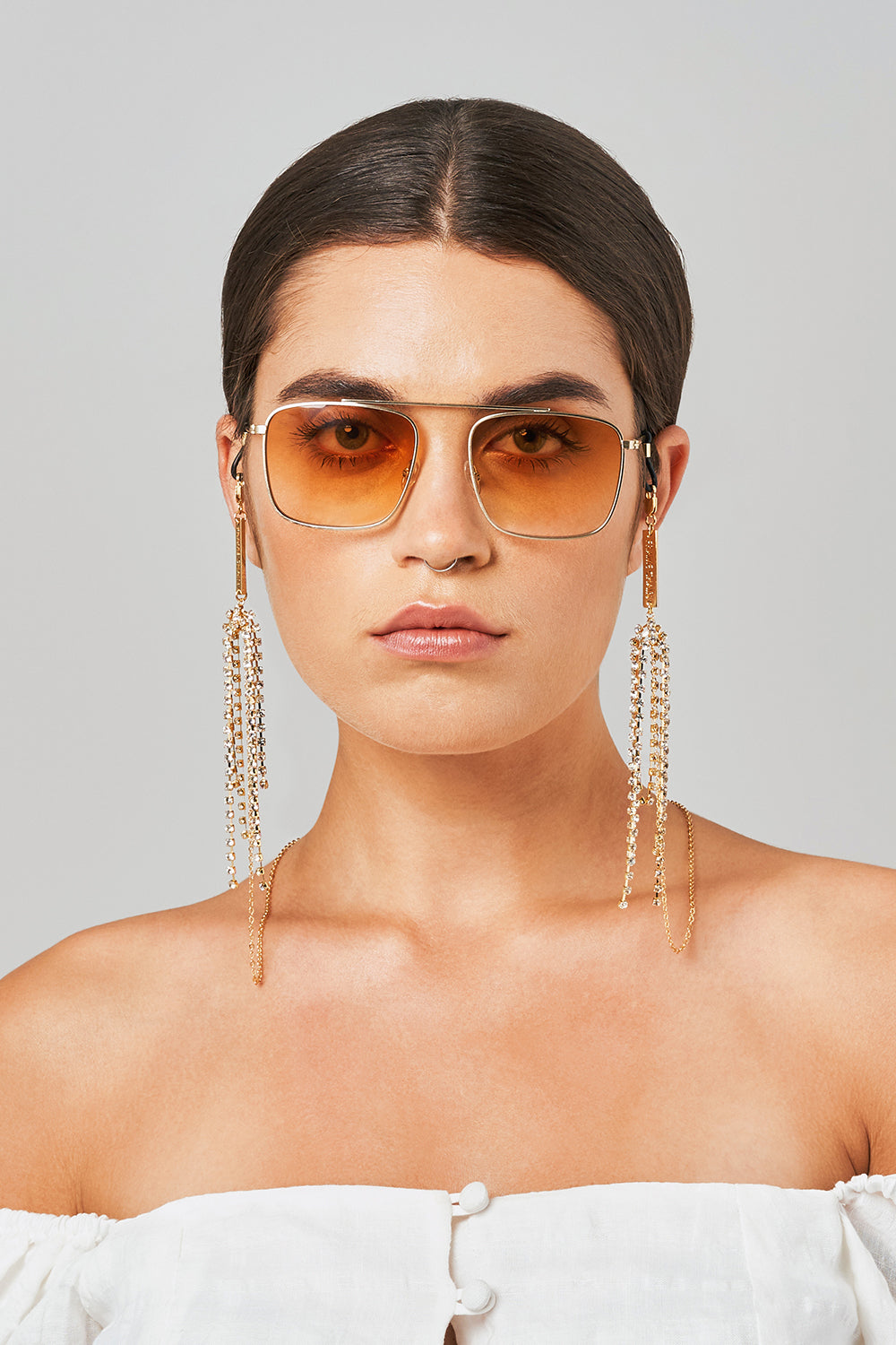 FRAME CHAIN | DISCO WHITE CRYSTAL in YELLOW GOLD | Glasses Chains | Eyewear Chains
