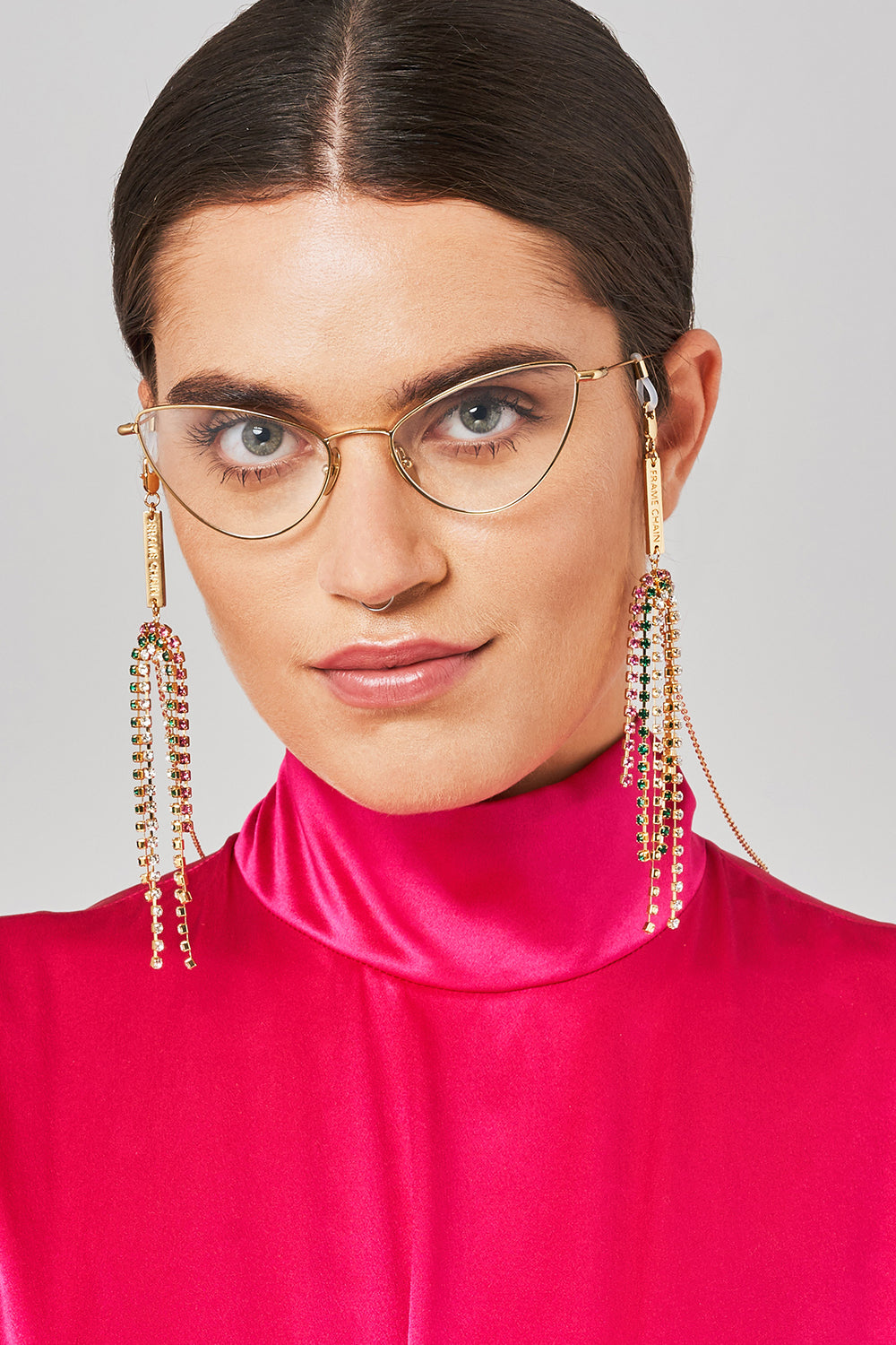 FRAME CHAIN | DOLLY WHITE, PINK & GREEN CRYSTAL in YELLOW GOLD | Glasses Chains | Eyewear Chains