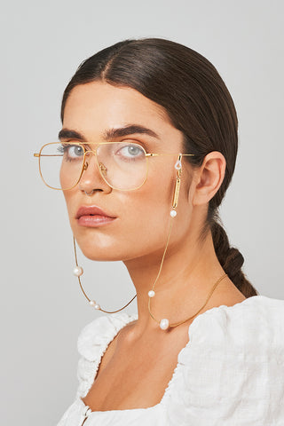 FRAME CHAIN | DROP PEARL in YELLOW GOLD | Glasses Chains | Eyewear Chains