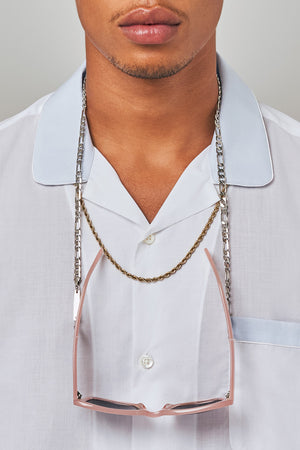 FRAME CHAIN | FULL FIGARO in WHITE GOLD | Glasses Chains | Eyewear Chains