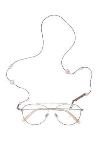FRAME CHAIN - DROP PEARL in WHITE GOLD - Glasses chain