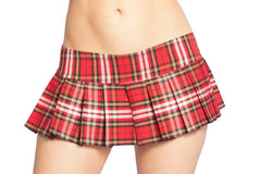 red and brown plaid skirt