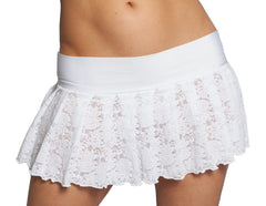 white lace pleated mini skirt