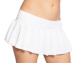 white pleated mini skirt