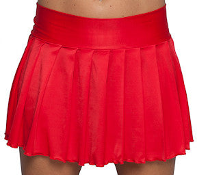 Red Pleated Mini Skirt