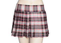 Black, Red and White Plaid Schoolgirl Skirt Plus Size