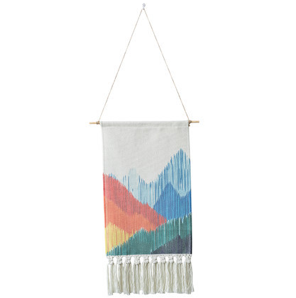 Geometric Print Cotton Wall Hanging Tapestry with Hand-knotted Tassels