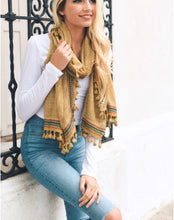 Load image into Gallery viewer, Boho Mustard Multi-Color Tassel Trim Scarf