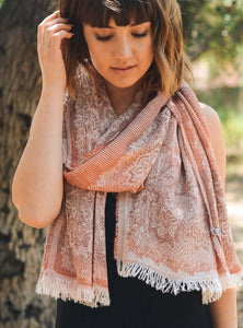 Soft Rust Medallion Print Frayed Long Scarf