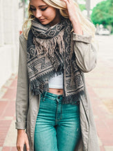 Load image into Gallery viewer, Charcoal Taupe Geometric Tribal Blanket Scarf