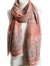 Load image into Gallery viewer, Soft Rust Medallion Print Frayed Long Scarf