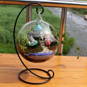 Glass Ball Terrarium with Metal Stand