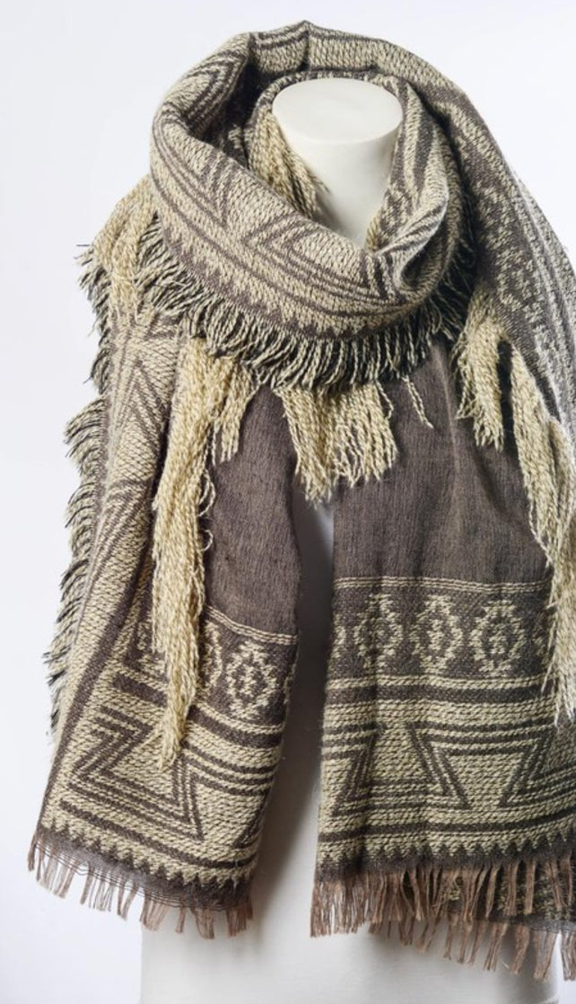 Mocha and Ivory Geometric Tribal Blanket Scarf