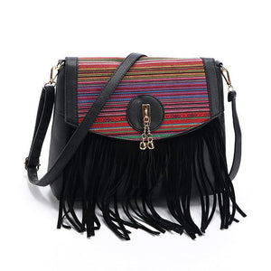Tribal Crossbody Bag with Fringe