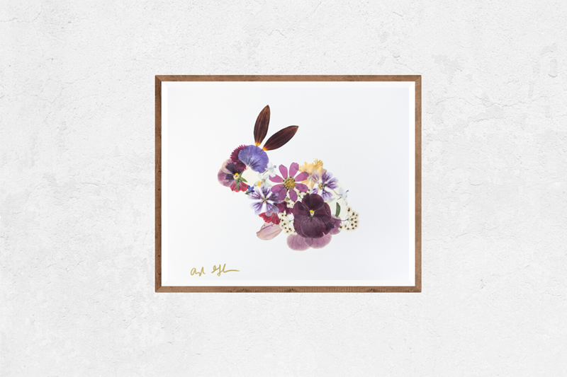 Plum Purple Floral Bunny Nature Art Print