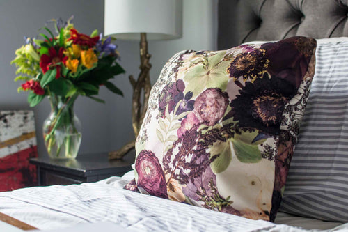 Plum Purple Floral Pillow Cover