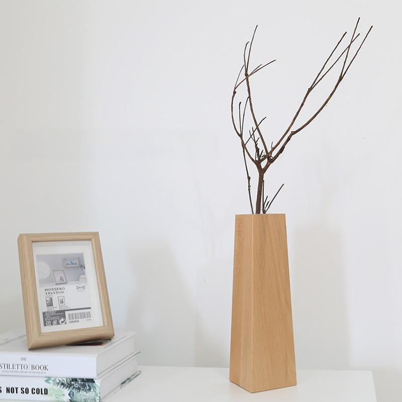 Tall Wooden Geometric Plant Vase