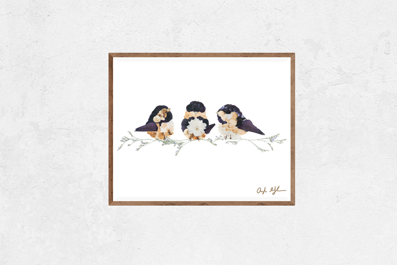 Three Chickadees Floral Art Print