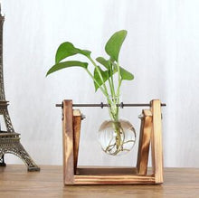 Load image into Gallery viewer, Small Glass Orb Vase in Wooden Stand