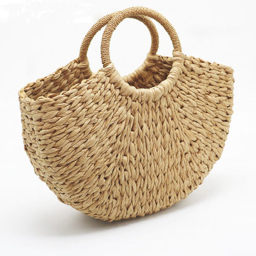 Handcrafted Round Straw Tote Bag
